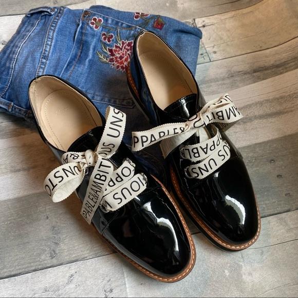 Zara Women's black patent platform Oxford shoes